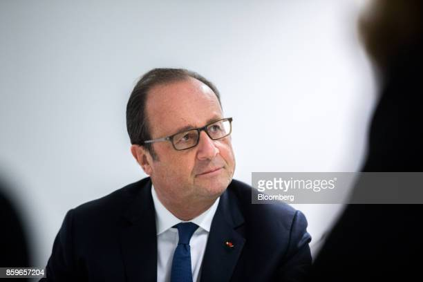 Francois Hollande France's former president looks on during a meeting in the offices of nonprofit foundation 'La France sengage' meaning 'France...