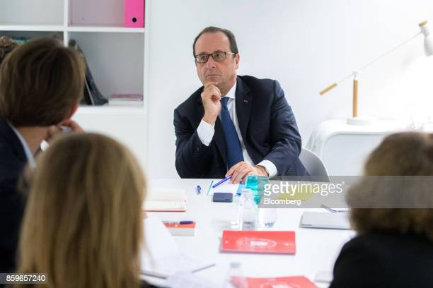 Francois Hollande France's former president looks on during a meeting with young entrepreneurs in the offices of nonprofit foundation 'La France...
