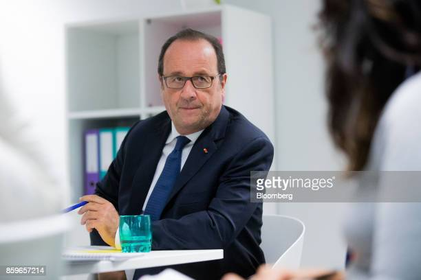 Francois Hollande France's former president pauses during an interview in the offices of nonprofit foundation 'La France sengage' meaning 'France...