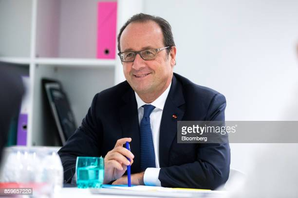 Francois Hollande France's former president reacts during a meeting in the offices of nonprofit foundation 'La France sengage' meaning 'France...