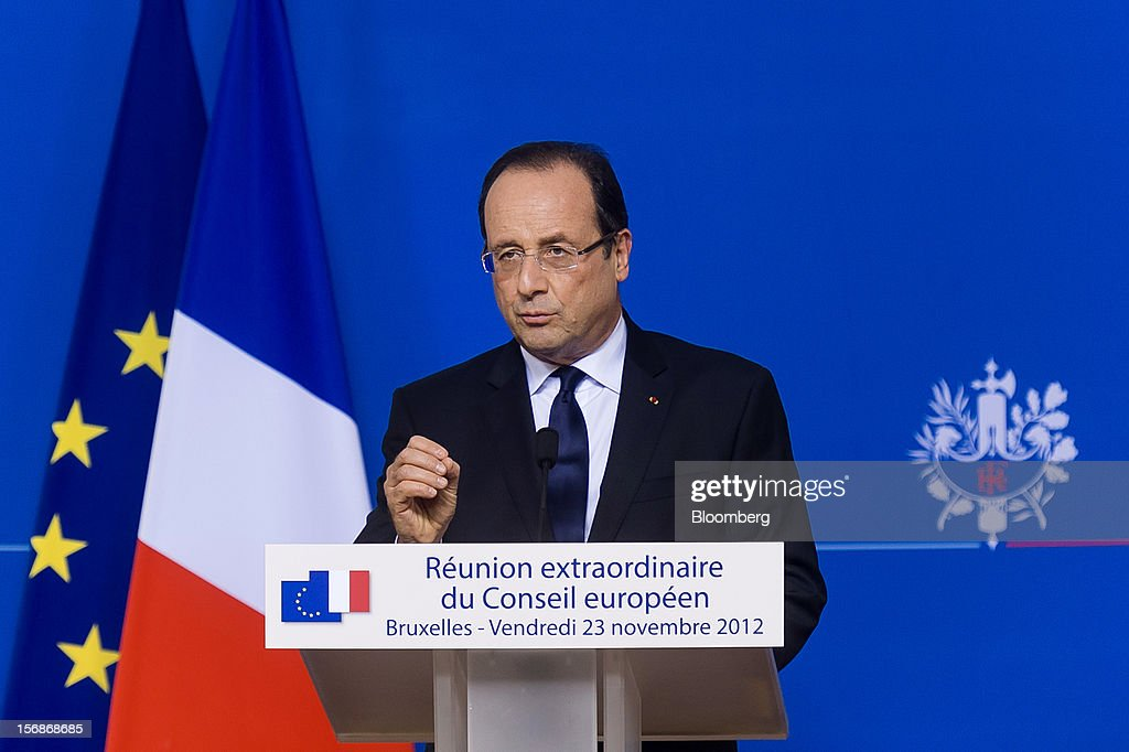 Francois Hollande, France's president, speaks at a news conference following the European Union (EU) leaders summit meeting at the European Council headquarters in Brussels, Belgium, on Friday, Nov. 23, 2012. European Union leaders deadlocked over the bloc's next seven-year budget, adding to the quarrels between rich and poor countries that have stymied the response to the euro debt crisis. Photographer: Jock Fistick/Bloomberg via Getty Images