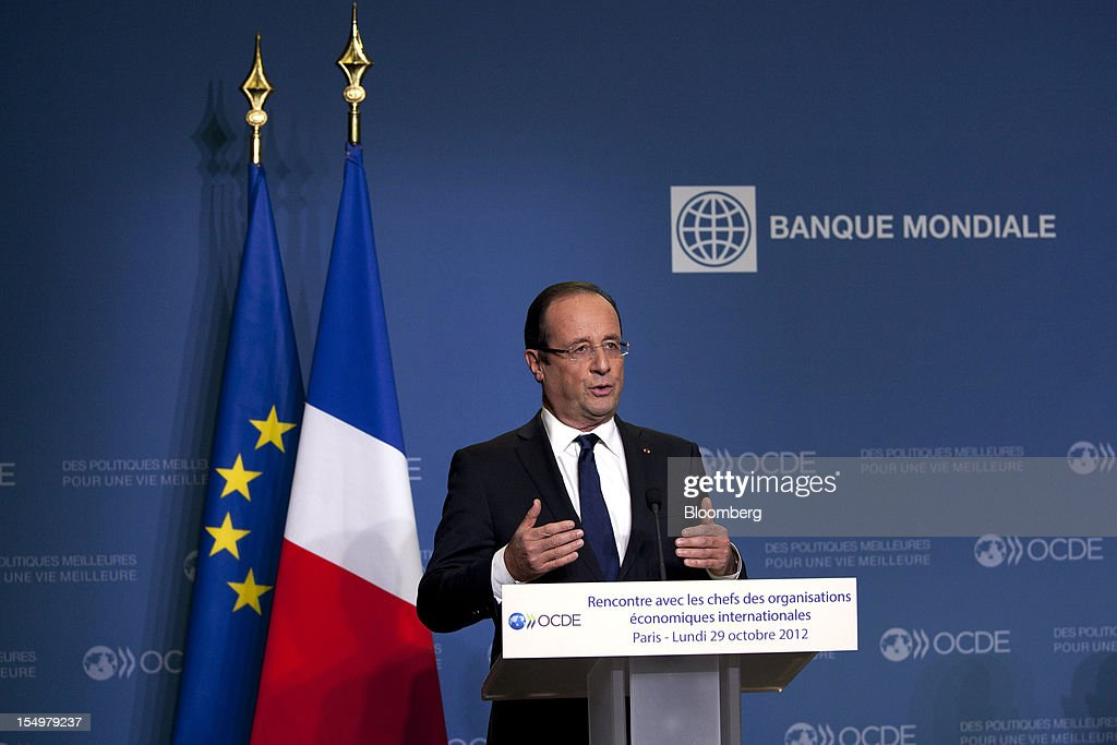 Francois Hollande, France's president,speaks during a news conference following a meeting hosted by the Organization for Economic Cooperation and Development (OECD) in Paris, France, on Monday, Oct. 29, 2012. Hollande said he wants the euro group of finance ministers to find a 'durable' solution to Greece's debt problems at their November meeting. Photographer: Balint Porneczi/Bloomberg via Getty Images
