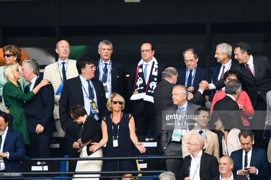 Francois Hollande, French president during the European Championship match Round of 16 between France and Republic of Ireland at Stade des Lumieres on June 26, 2016 in Lyon, France.