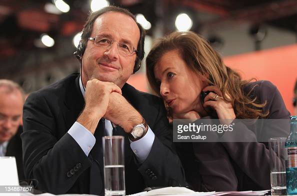 Francois Hollande French presidential candidate of the French Socialist Party and Hollande's partner Valerie Trierweiler attend the second day of the...