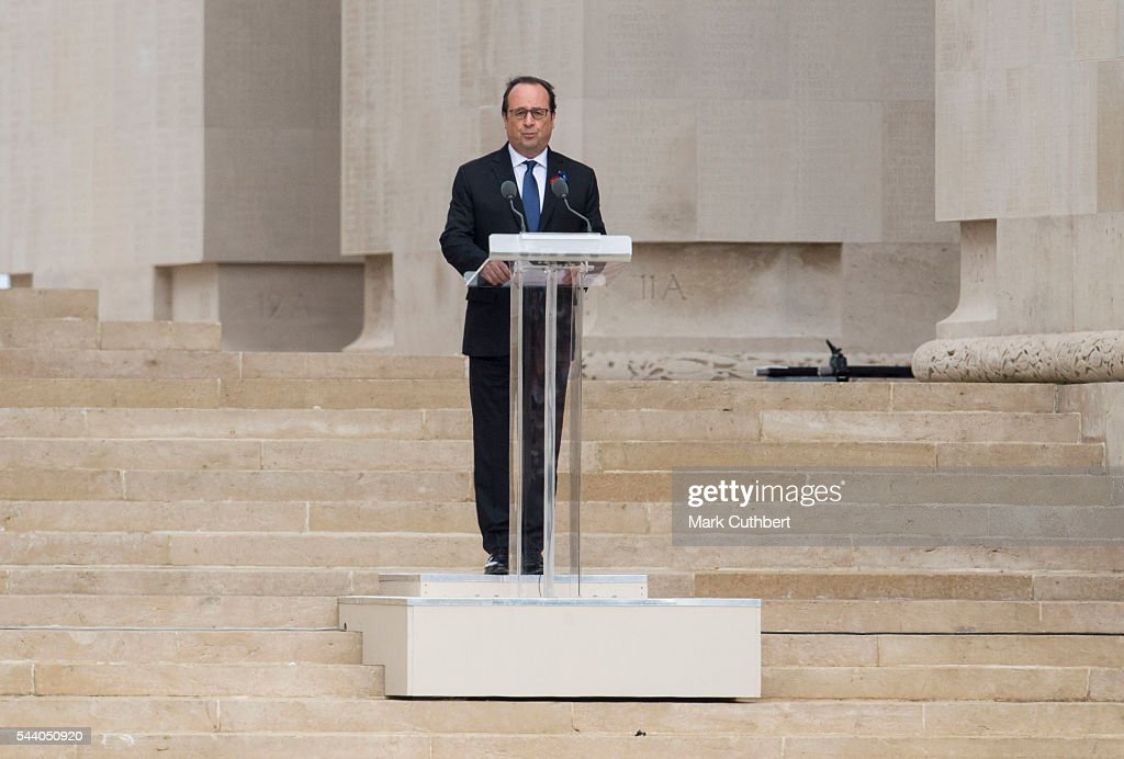 Francois Hollande gives a reading at a Commemoration of the Centenary of the Battle of the Somme at The Commonwealth War Graves Commission Thiepval Memorial on July 01, 2016 in Thiepval, France.