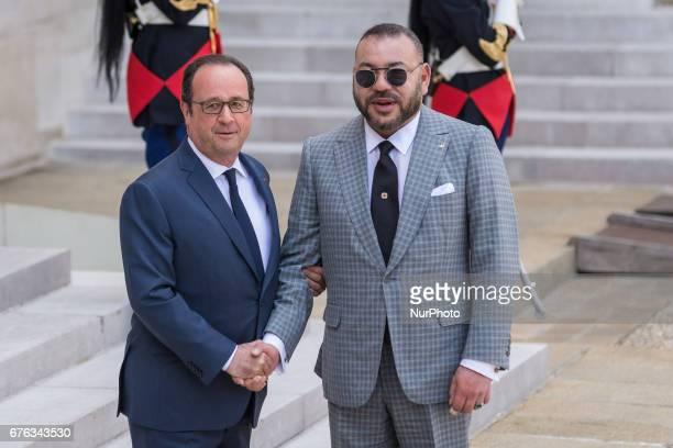 Francois Hollande King Muhammad VI In Paris France on May 2 2017