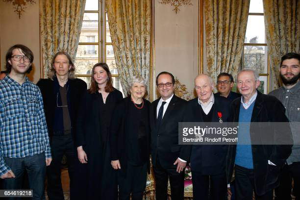 Francois Hollande Michel Bouquet his wife Juliette Carre their grandchildren Julien Amiel Vincent Amiel and Marie Amiel Pascal Legros Georges Werler...