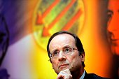 Francois Hollande one of the candidates for the Socialist Party primary vote for France's 2012 presidential election attends a press conference on...