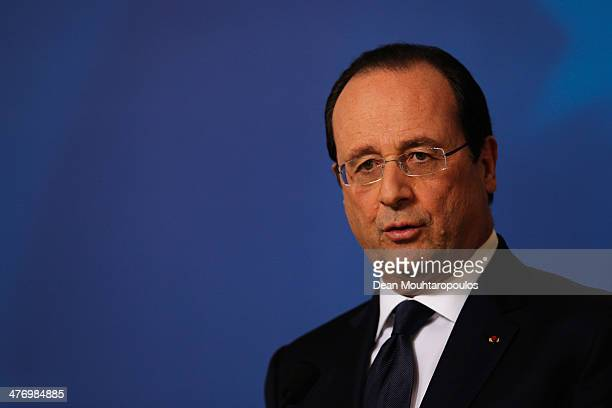 Francois Hollande President of France speaks to the media during a meeting to discuss the situation in Ukraine at the European Union Council Building...