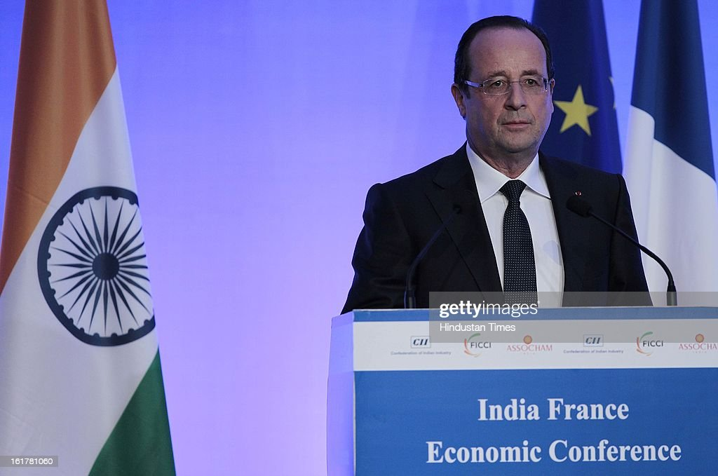 H.E. Francois Hollande, President of the French Republic speaking on strengthening long-term economic partnership between India and France at Taj Mahal Palace, Colaba on February 15, 2013 Mumbai, India.