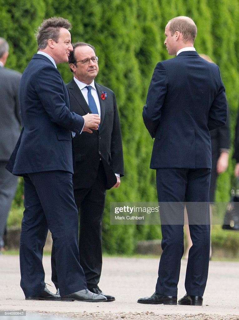 Francois Hollande talks to <a gi-track='captionPersonalityLinkClicked' href=/galleries/search?phrase=David+Cameron+-+Politician&family=editorial&specificpeople=227076 ng-click='$event.stopPropagation()'>David Cameron</a> and <a gi-track='captionPersonalityLinkClicked' href=/galleries/search?phrase=Prince+William&family=editorial&specificpeople=178205 ng-click='$event.stopPropagation()'>Prince William</a>, Duke of Cambridge at a Commemoration of the Centenary of the Battle of the Somme at The Commonwealth War Graves Commission Thiepval Memorial on July 01, 2016 in Thiepval, France.