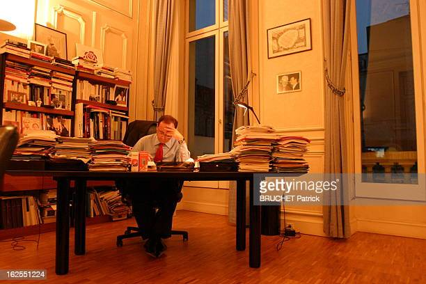 Francois Hollande The Evening Night Of The Defeat Of Yes For The Constitution EXCLUSIFFrançois HOLLANDE recoit notre photographe dans son bureau de...