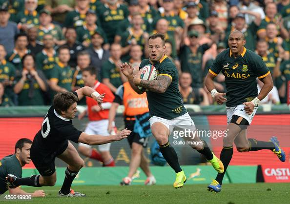 Francois Hougaard of South Africa breaks away to score the first try during The Castle Rugby Championship match between South Africa and New Zealand...