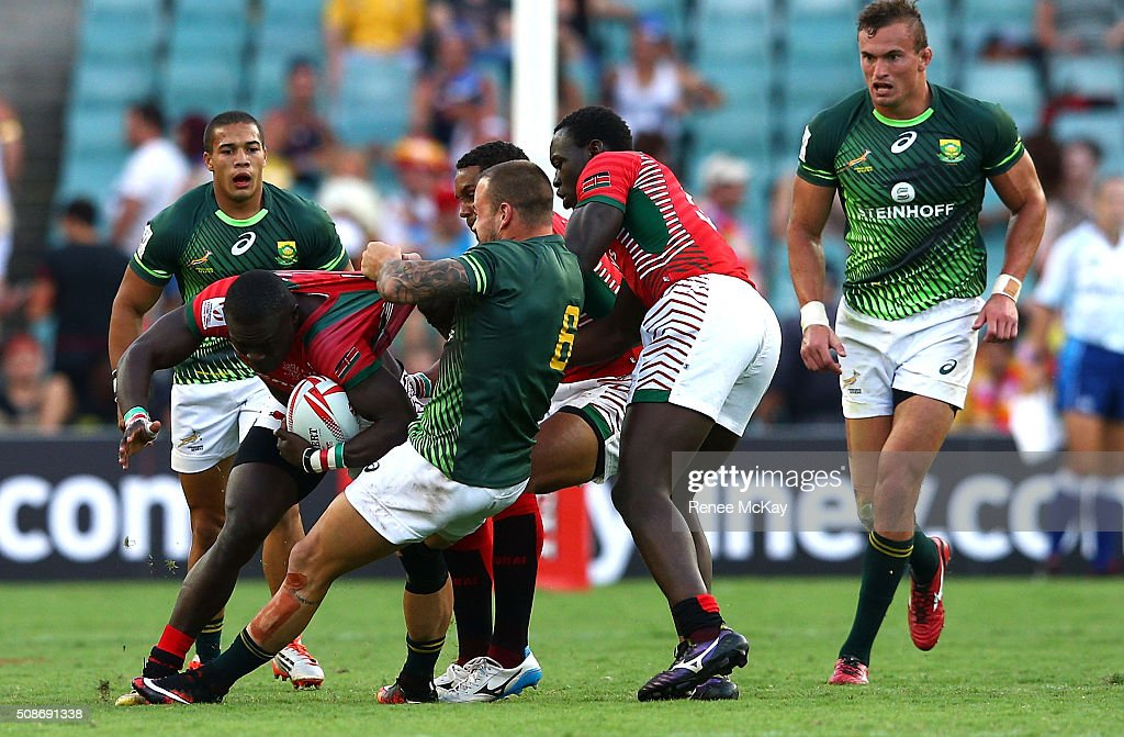 <a gi-track='captionPersonalityLinkClicked' href=/galleries/search?phrase=Francois+Hougaard&family=editorial&specificpeople=4229504 ng-click='$event.stopPropagation()'>Francois Hougaard</a> of South Africa defends during the day 1 match between South Africa and Kenya at the HSBC Sydney Sevens at Allianz Stadium on February 06, 2016 in Sydney, Australia.