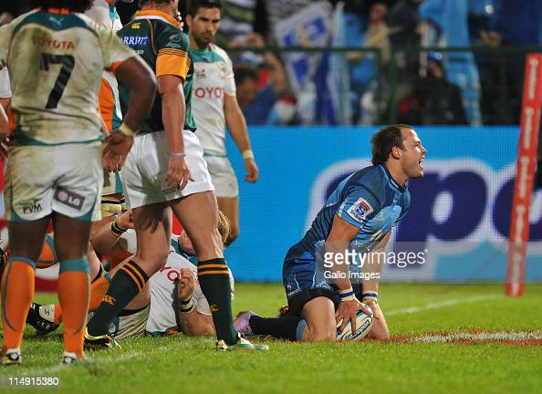 Francois Hougaard of the Bulls celebrates his winning try during the Super Rugby match between Vodacom Bulls and Toyota Cheetahs at Loftus Versfeld...