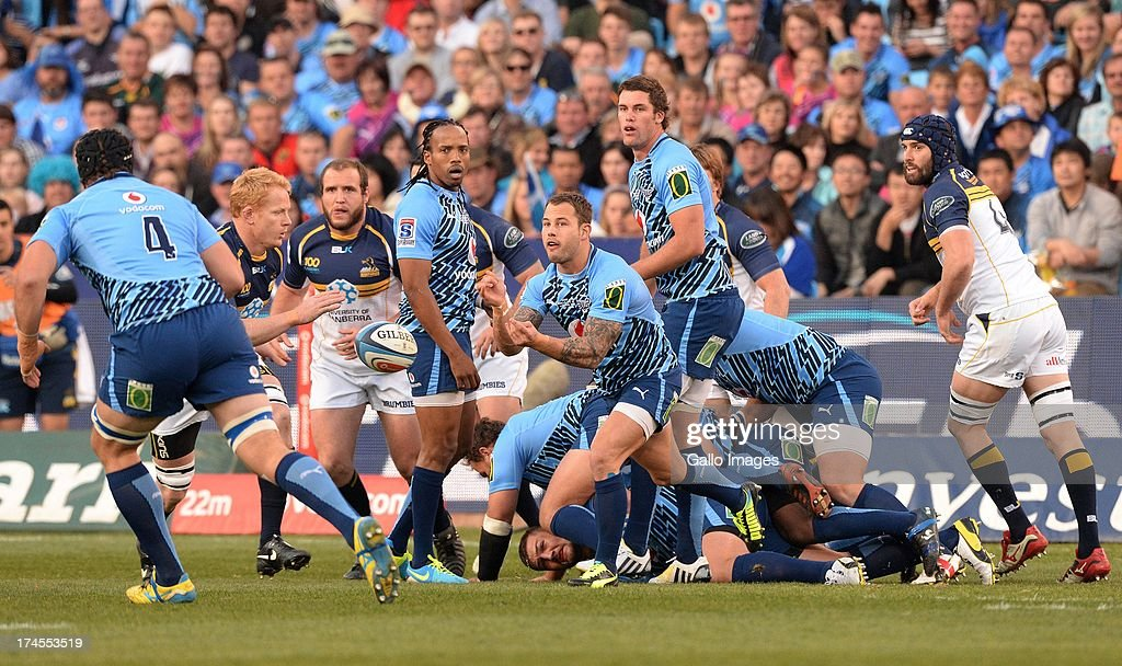 Francois Hougaard of the Bulls spreads the ball during the SupeRugby semi final match between Vodacom Bulls and Brumbies at Loftus Versfeld Stadium on July 27, 2013 in Pretoria, South Africa.