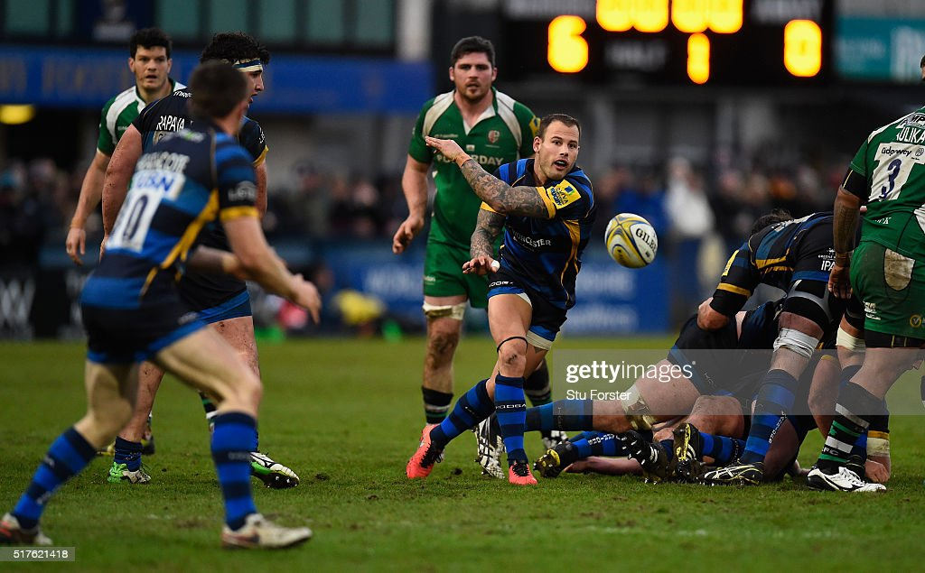 Francois Hougaard of Worcester releases the ball during the Aviva Premiership match between Worcester Warriors and London Irish at Sixways stadium on...