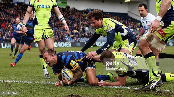Francois Hougaard of Worcester Warriors celebrates scoring his try during the Aviva Premiership match between Worcester Warriors and Sale Sharks at...