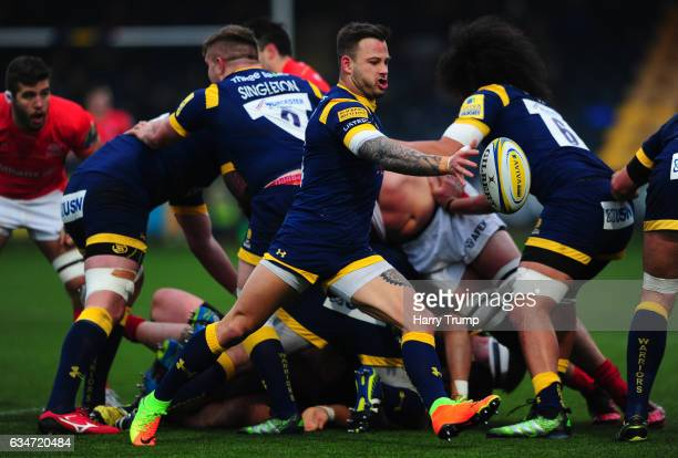 Francois Hougaard of Worcester Warriors clears the ball during the Aviva Premiership match between Worcester Warriors and Saracens at Sixways Stadium...
