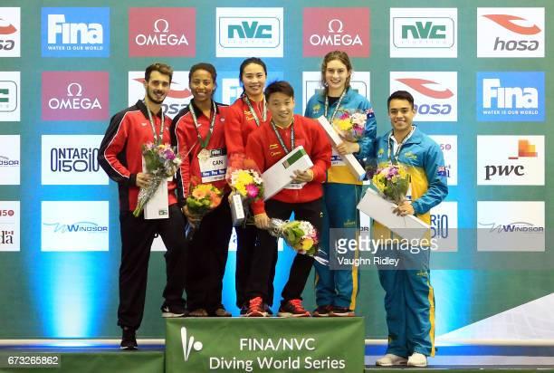 Francois ImbeauDulac and Jennifer Abel of Canada win Silver Zheng Li and Han Wang of China win Gold and Maddison Keeney and Kevin Chavez of Australia...