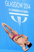 Francois ImbeauDulac of Canada competes in the Men's 1m Springboard Preliminaries at Royal Commonwealth Pool during day seven of the Glasgow 2014...