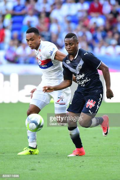 Francois Kamano of Bordeaux and Kenny Tete of Lyon during the Ligue 1 match between Olympique Lyonnais and FC Girondins de Bordeaux at Groupama...