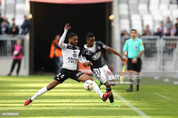 Francois Kamano of Bordeaux and Marcus Coco of Guingamp during the French Ligue 1 match between Bordeaux and Guingamp at Stade Matmut Atlantique on...