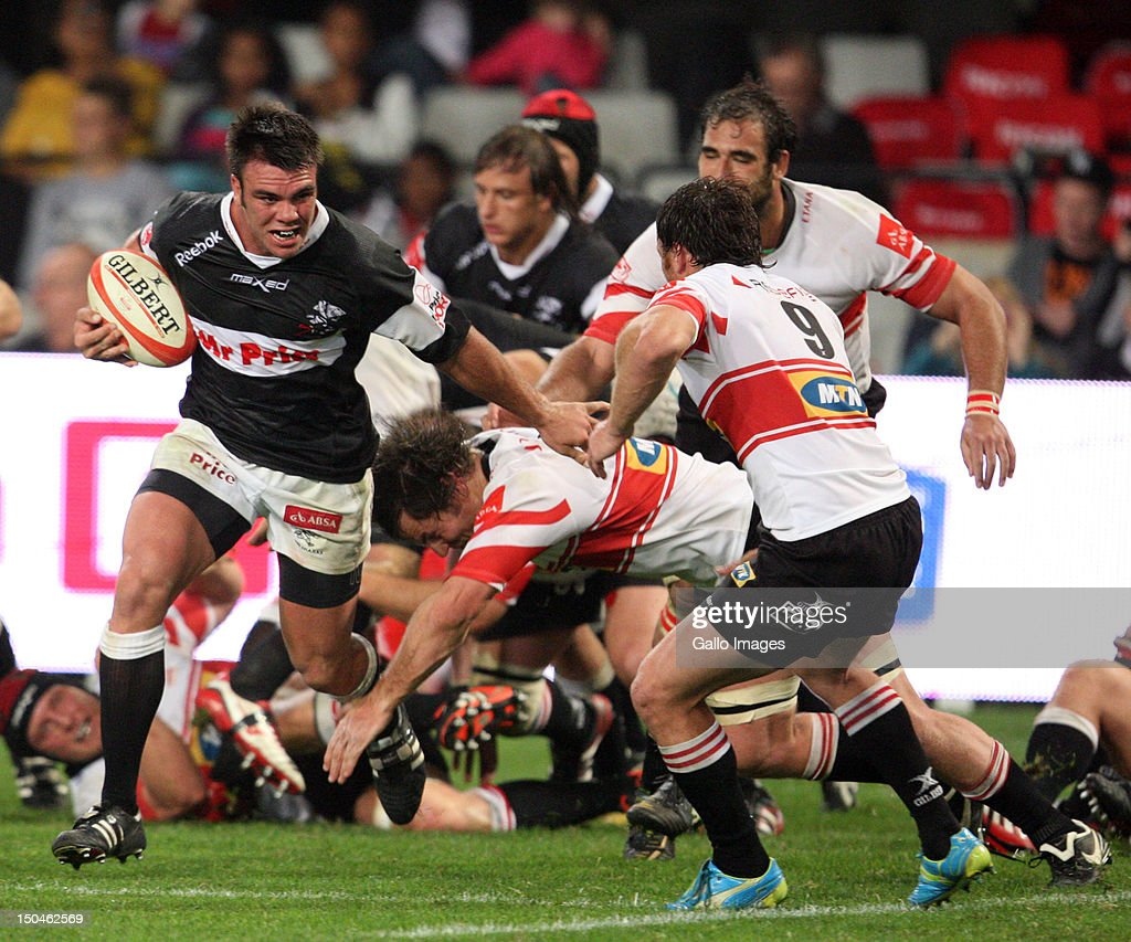 Francois Kleinhans driving at the try line during the Absa Currie Cup match between The Sharks and MTN Golden Lions at Mr Price Kings Park on August 18, 2012 in Durban, South Africa