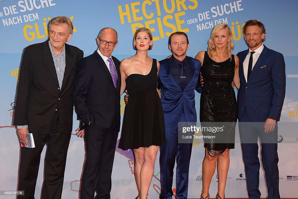 Francois Lelord, <a gi-track='captionPersonalityLinkClicked' href=/galleries/search?phrase=Peter+Chelsom&family=editorial&specificpeople=2521316 ng-click='$event.stopPropagation()'>Peter Chelsom</a>, <a gi-track='captionPersonalityLinkClicked' href=/galleries/search?phrase=Rosamund+Pike&family=editorial&specificpeople=208910 ng-click='$event.stopPropagation()'>Rosamund Pike</a>, <a gi-track='captionPersonalityLinkClicked' href=/galleries/search?phrase=Simon+Pegg&family=editorial&specificpeople=206280 ng-click='$event.stopPropagation()'>Simon Pegg</a>, <a gi-track='captionPersonalityLinkClicked' href=/galleries/search?phrase=Veronica+Ferres&family=editorial&specificpeople=207167 ng-click='$event.stopPropagation()'>Veronica Ferres</a> and Barry Atsma attends the premiere of the film 'Hector and the Search for Happiness' (German title: 'Hectors Reise') at Zoo Palast on August 5, 2014 in Berlin, Germany.