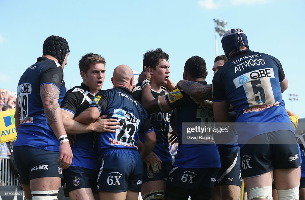 <a gi-track='captionPersonalityLinkClicked' href=/galleries/search?phrase=Francois+Louw&family=editorial&specificpeople=4389467 ng-click='$event.stopPropagation()'>Francois Louw</a> (C) of Bath is congratulated by team mates after scoring the late match winning try during the Aviva Premiership match between Bath and Leicester Tigers at the Recreation Ground on April 20, 2013 in Bath, England.