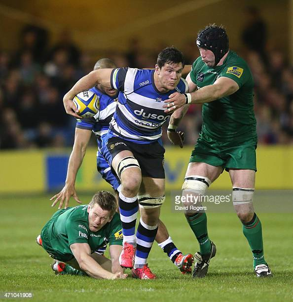 Francois Louw of Bath is held by George Skivington during the Aviva Premiership match between Bath and London Irish at the Recreation Ground on April...