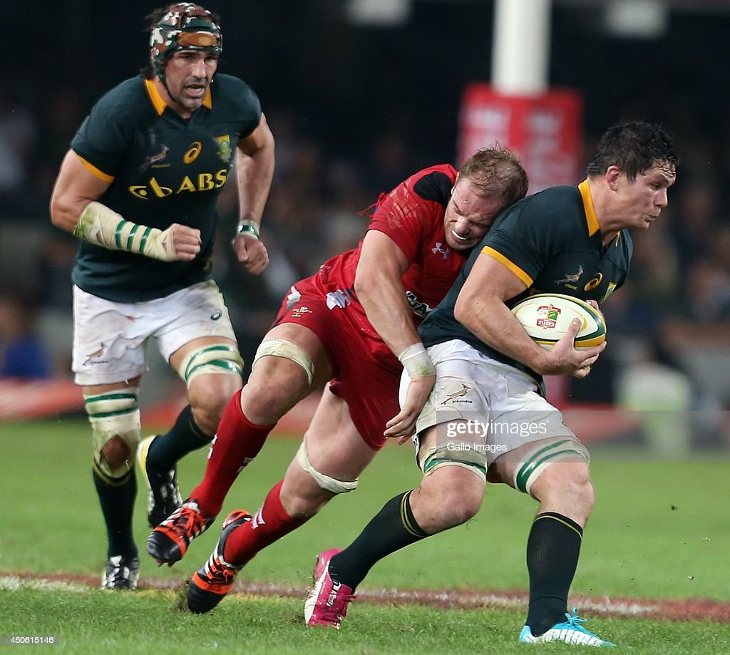 Francois Louw of South Africa is tackled by Alun Wyn Jones (Capt) of Wales during the Incoming Tour match between South Africa and Wales at Growthpoint Kings Park on June 14, 2014 in Durban, South Africa.