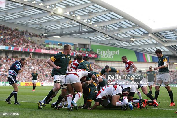 Francois Louw of South Africa scores the first try during the 2015 Rugby World Cup Pool B match between South Africa and Japan at Brighton Community...