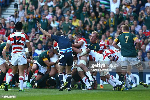 Francois Louw of South Africa scores the first try of the match during the 2015 Rugby World Cup Pool B match between South Africa and Japan at the...