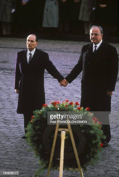 Francois Mitterrand and Helmut Kohl on December 22 1984 in VerdunFrance