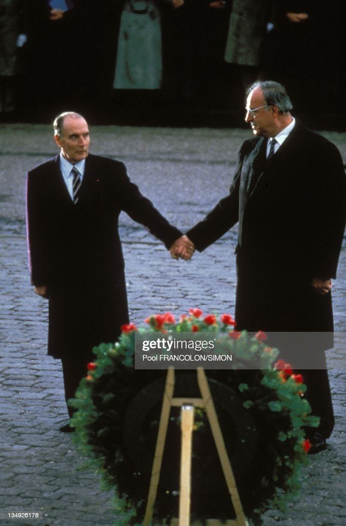 <a gi-track='captionPersonalityLinkClicked' href=/galleries/search?phrase=Francois+Mitterrand&family=editorial&specificpeople=208938 ng-click='$event.stopPropagation()'>Francois Mitterrand</a> and <a gi-track='captionPersonalityLinkClicked' href=/galleries/search?phrase=Helmut+Kohl&family=editorial&specificpeople=202518 ng-click='$event.stopPropagation()'>Helmut Kohl</a> on December 22, 1984 in Verdun,France .