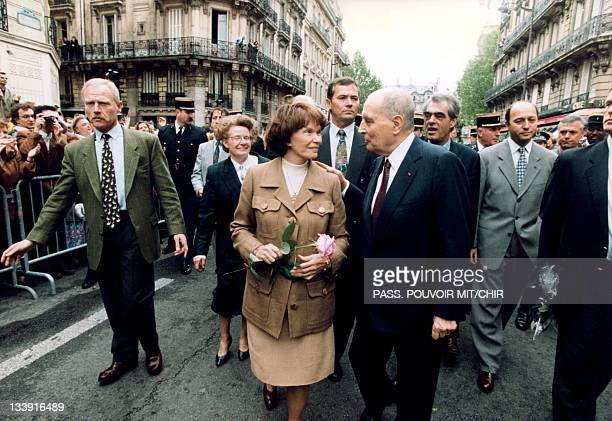 Francois Mitterrand and his wife Danielle Mitterrand on May 17 in Paris France
