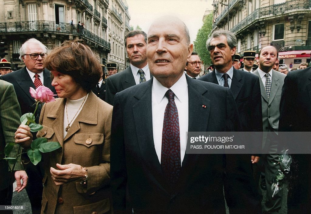 <a gi-track='captionPersonalityLinkClicked' href=/galleries/search?phrase=Francois+Mitterrand&family=editorial&specificpeople=208938 ng-click='$event.stopPropagation()'>Francois Mitterrand</a> and his wife <a gi-track='captionPersonalityLinkClicked' href=/galleries/search?phrase=Danielle+Mitterrand&family=editorial&specificpeople=216317 ng-click='$event.stopPropagation()'>Danielle Mitterrand</a> on May 17, 1995, in Paris, France.