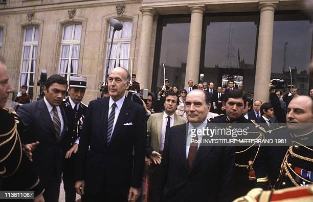 Francois Mitterrand and Valery Giscard D Estaing attend the Inauguration of Francois Mitterrand as President of France on May 21 1981 in ParisFrance