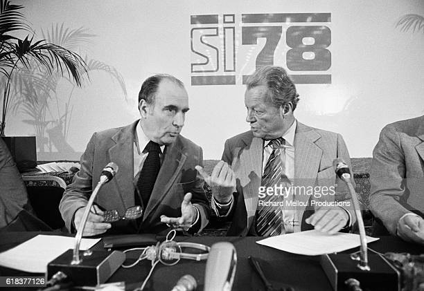 Francois Mitterrand and Willy Brandt debate during the Socialist International meeting at the Meridien Hotel in Paris Mitterrand was the leader of...