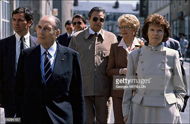 Francois Mitterrand at Chinon castle In Chinon France On April 24 1998 Francois Mitterrand Roger Hanin Christine GouzeRenal and Daniele Mitterrand
