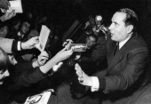 Francois Mitterrand French politician during a meeting between the two rounds of the presidential election Toulouse on December 17 1965