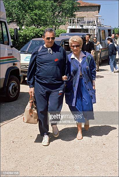 Francois Mitterrand In Solutre France On May 22 1998 Roger Hanin and his wife Christine GouzeRenal