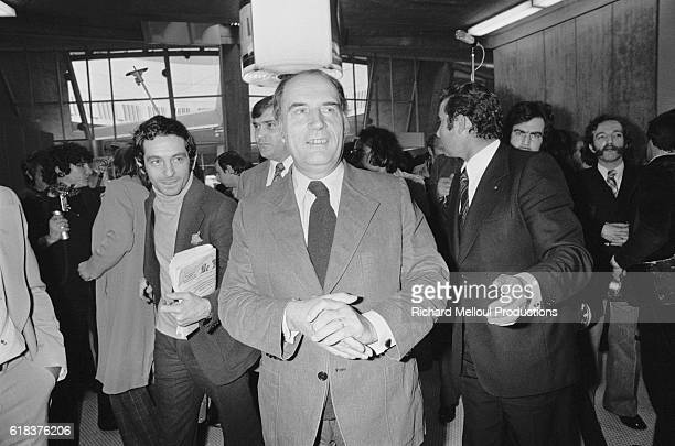 Francois Mitterrand leader of the French Socialist Party returns to France after visiting his son's future inlaws in Tahiti Mitterrand's son...