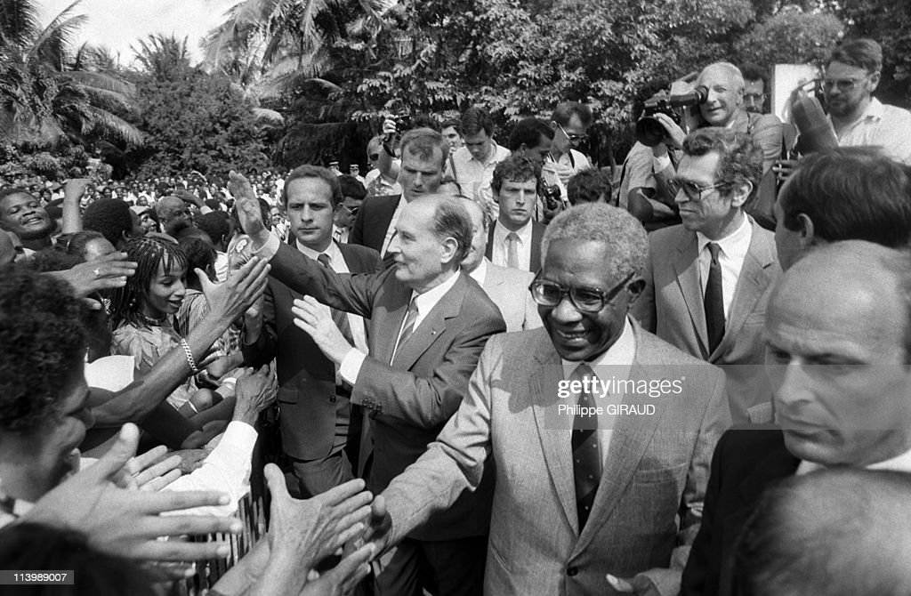 <a gi-track='captionPersonalityLinkClicked' href=/galleries/search?phrase=Francois+Mitterrand&family=editorial&specificpeople=208938 ng-click='$event.stopPropagation()'>Francois Mitterrand</a> on visit to West Indies In France On December 04, 1985-French President <a gi-track='captionPersonalityLinkClicked' href=/galleries/search?phrase=Francois+Mitterrand&family=editorial&specificpeople=208938 ng-click='$event.stopPropagation()'>Francois Mitterrand</a> and <a gi-track='captionPersonalityLinkClicked' href=/galleries/search?phrase=Aime+Cesaire&family=editorial&specificpeople=2045412 ng-click='$event.stopPropagation()'>Aime Cesaire</a>, mayor of Fort de France.