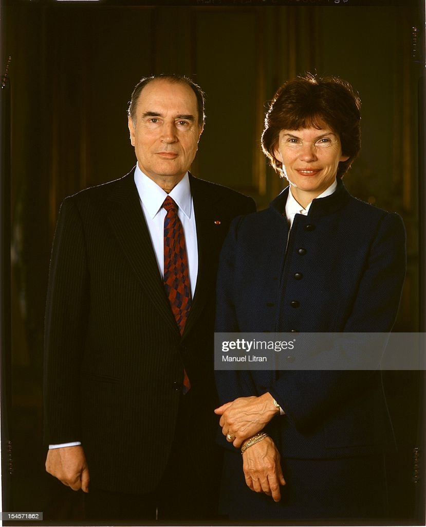<a gi-track='captionPersonalityLinkClicked' href=/galleries/search?phrase=Francois+Mitterrand&family=editorial&specificpeople=208938 ng-click='$event.stopPropagation()'>Francois Mitterrand</a> posing with his wife Danielle in 1982 for coverage of the 1722 issue of Paris Match.