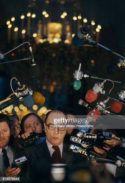 Francois Mitterrand speaks to a group of journalists during a press conference at the Palais de l'Elysee Mitterrand was the leader of the Parti...