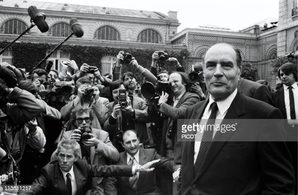 Francois Mitterrand surrounded by photographers during the French cabinet meeting at Elysee Palace on May 27 1981in ParisFrance
