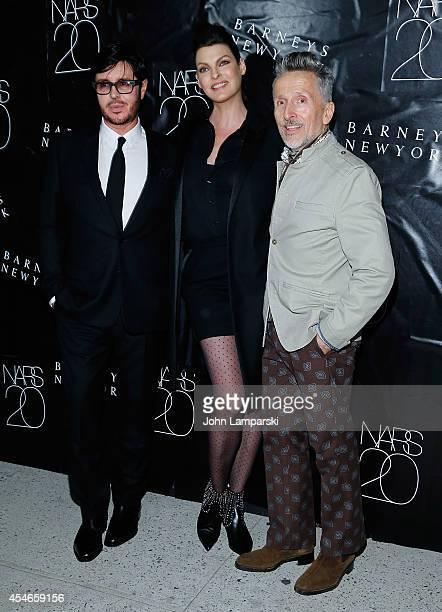 Francois Nars Linda Evangelista and Simon Doonan attend the NARS' 20th Anniversary Celebration at Barneys New York on September 4 2014 in New York...