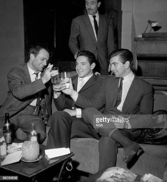 Francois Patrice toasts with Pedro and Ricardo Rodriguez Paris Saint Hilaire Club 1962 HA 10395